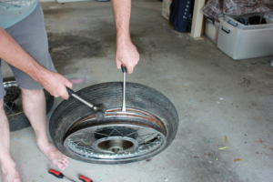 Work tyre removeal